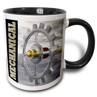 3dRose Mechanical shows silver and golf gear and axle with brass colored mechanical text - Two Tone Black Mug, 11-ounce
