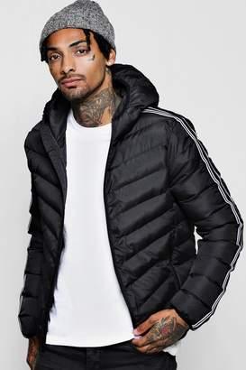 boohoo Striped Tape Hooded Puffer Jackets
