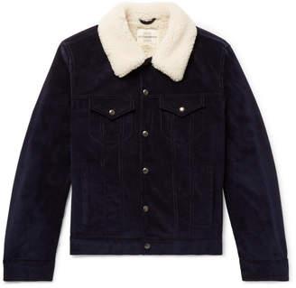 Kent & Curwen Scotney Slim-Fit Shearling-Trimmed Cotton-Corduroy Trucker Jacket