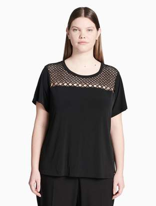 Calvin Klein plus size eyelet short sleeve top
