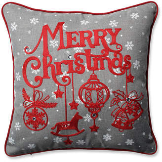 """Pillow Perfect Ornamental Christmas Grey-Red 16.5"""" Throw Pillow"""