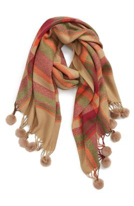 Sole Society Plaid Scarf with Pompom Fringe