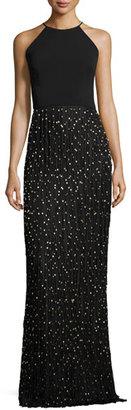 Badgley Mischka Sleeveless Beaded Fringe Column Gown, Black/Gold $795 thestylecure.com