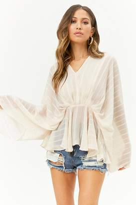 Forever 21 Sheer Textured Striped Peasant Top