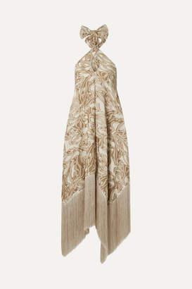Cult Gaia Ali Fringed Embroidered Fil Coupé Canvas Halterneck Maxi Dress - Sand