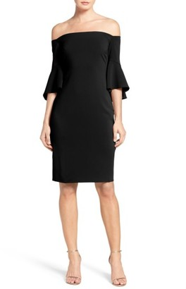 Laundry by Shelli Segal Off the Shoulder Crepe Sheath Dress $295 thestylecure.com