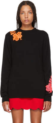 Christopher Kane Black Cashmere Flower Sweater