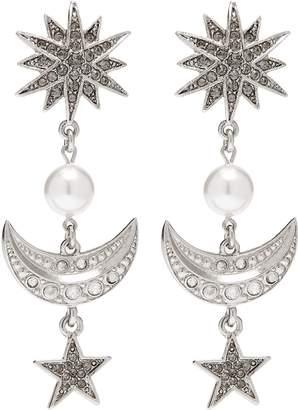 Oscar de la Renta Glass crystal faux pearl moon and star clip earrings