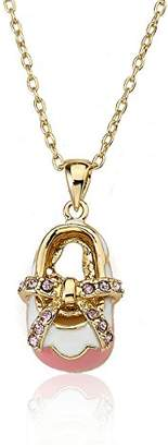 "Little Miss Twin Stars ""Shoebsessed"" 14k Gold-Plated Baby Shoe Pendant Necklace"