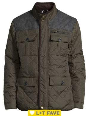 Cole Haan Stand Collar Quilted Jacket