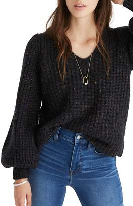Madewell V-Neck Puff Sleeve Sweater
