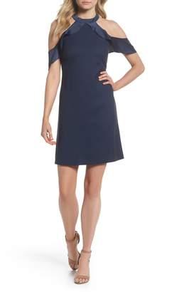 Julia Jordan Cold Shoulder Satin Trim Dress