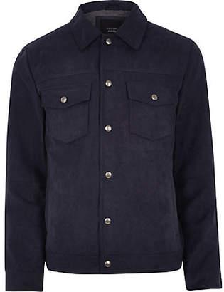 River Island Jack and Jones Premium navy trucker jacket