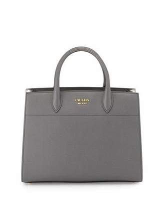 Prada Bibliothèque Medium Saffiano Top-Handle Tote Bag, Dark Gray/White (Mecurio/Talco)