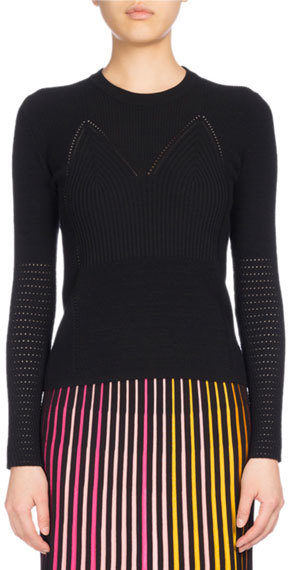 Kenzo KENZO Crew Neck Fitted Sweater, Black