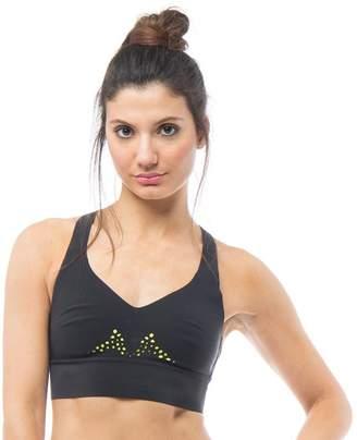 32955bec28514 Reebok Womens Cardio Speedwick Reversible Sports Bra Top Black Hero Yellow