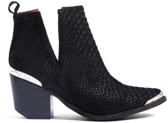 Jeffrey Campbell Cromwell Black Embossed Suede Western Cut Out Bootie