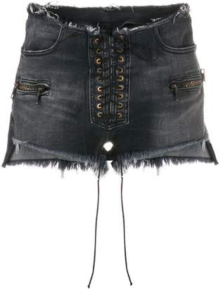 ab8305368d Unravel Project frayed lace-up denim shorts