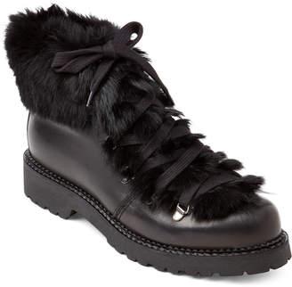 Elena Black & Bordeaux Real Fur-Trimmed Lace-Up Boots