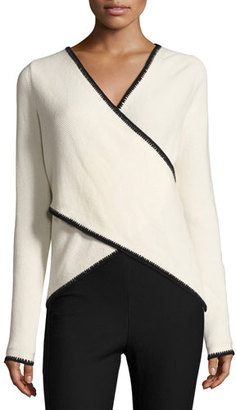 Derek Lam 10 Crosby Blanket-Stitched Cross-Front Sweater, White/Black $425 thestylecure.com