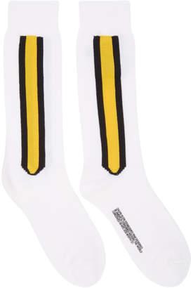 Calvin Klein White Intarsia Striped Socks