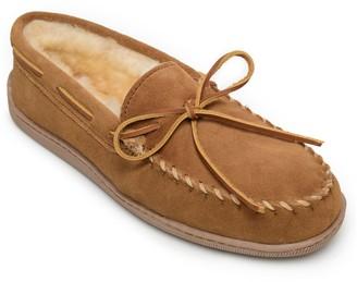 Minnetonka Men's Sheepskin Tan Extended-Size Moccasins