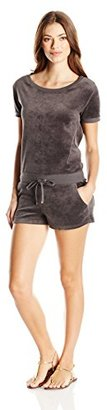 Juicy Couture Black Label Women's Logo Velour Marrakech Cameo Romper $157.24 thestylecure.com