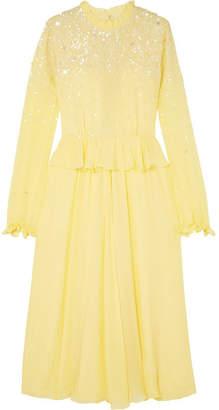 Stine Goya Gala Ruffled Sequin-embellished Chiffon Midi Dress - Pastel yellow