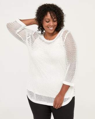 Penningtons 3/4 Sleeve Cotton Sweater with Open Stitching - In Every Story