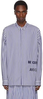 Juun.J Navy and White Striped Be Curious Not Judgemental Shirt
