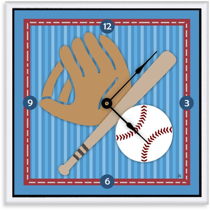 Green Leaf Art Baseball Decorative Art Clock