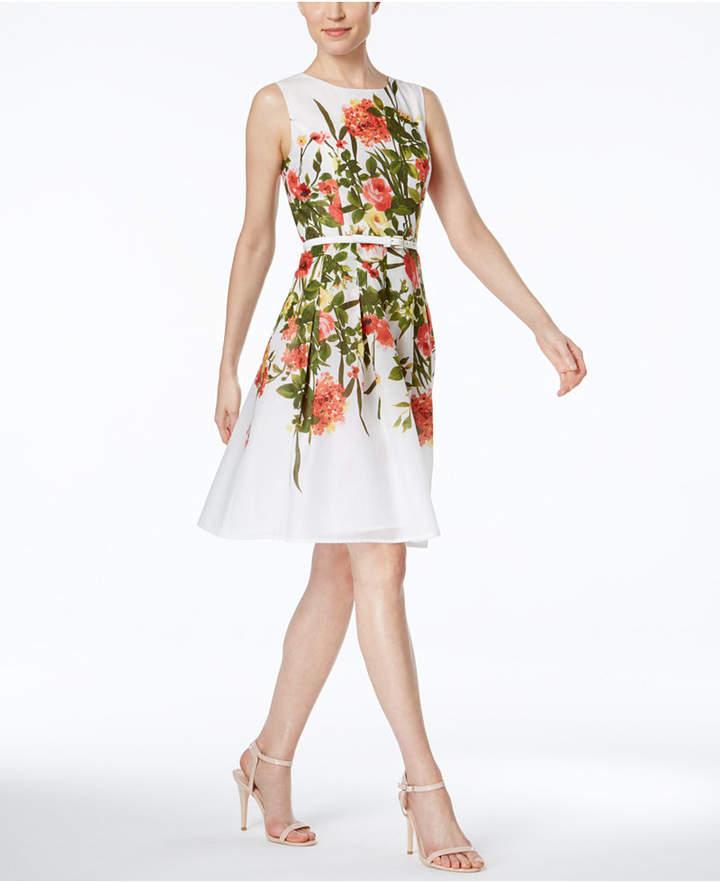 Tommy HilfigerTommy Hilfiger Floral-Print Belted Fit & Flare Dress