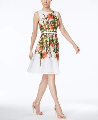 Tommy Hilfiger Floral-Print Belted Fit & Flare Dress $129 thestylecure.com