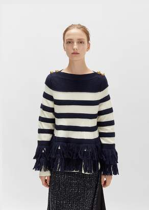 Sacai Fringe Knit Pullover Navy/Off White