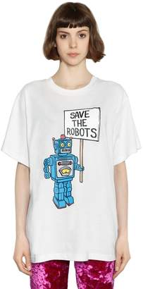 Jeremy Scott Save The Robots Print Jersey T-Shirt