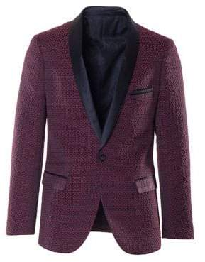 Paisley and Gray Slim-Tailored Jacquard Satin Tuxedo Jacket