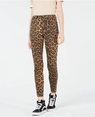 Joe's Jeans The Charlie Animal-Print Slit Skinny Jeans