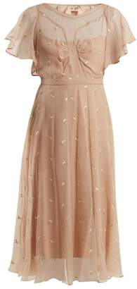 No.21 No. 21 - Floral Embroidered Chiffon Dress - Womens - Nude