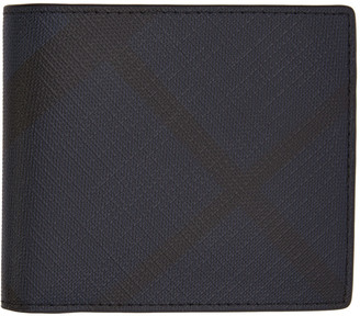 Burberry Navy Check Wallet $295 thestylecure.com