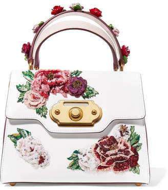 Dolce & Gabbana Welcome Medium Appliquéd Smooth And Lizard-effect Leather Tote - White