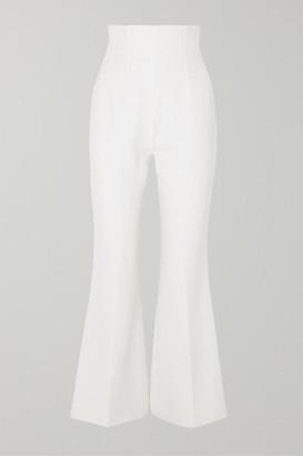 Emilia Wickstead Sammy Cropped Wool-crepe Flared Pants - Ivory