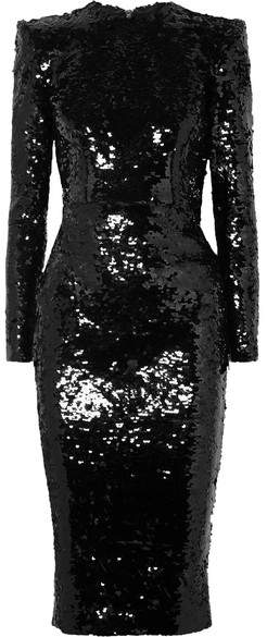 Alex Perry - Sequined Crepe Dress - Black