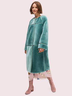 Kate Spade Shearling Leather Trim Coat, Black - Size 0