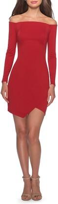 La Femme Off the Shoulder Tulip Hem Long Sleeve Minidress