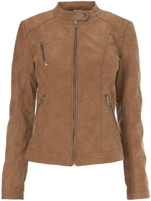Next Only Womens Faux Leather Jacket Brown 6