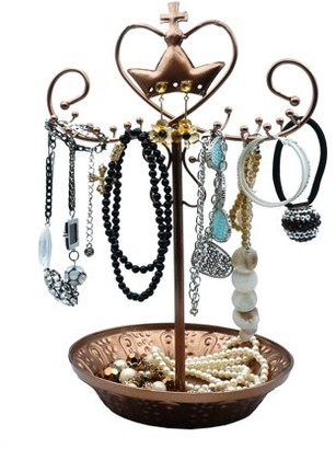 K Cliffs Necklace Organizer Jewelry Display Stand Rotating Bracelet Holder Classic Metal Spinning Earring Hanging Rack Tree Tower With Large Tray Base 16 Loops for Earrings Necklaces Bracelets Rose Gold