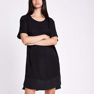 River Island Black short sleeve sheer hem dress