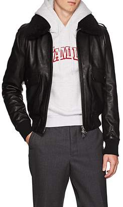 Ami Alexandre Mattiussi Men's G1 Shearling-Trimmed Leather Bomber Jacket - Black
