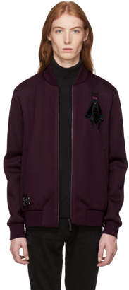 Fendi Burgundy Neoprene Super Bugs Patch Bomber Jacket