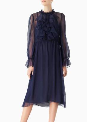 See by Chloe Ruffled Front Long Sleeve Dress In Navy